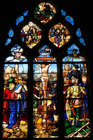 France, stained glass window in the church Saint Martin of Triel Stock Photo - 13096334