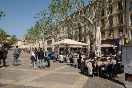 avignon: France, Provence, Place de l Horloge in Avignon  Editorial