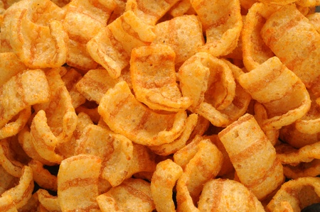 close up of bacon andpaprika flavored snacks