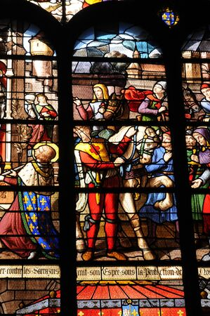 pontoise:  France, stained glass window in the cathedral of Pontoise  Editorial