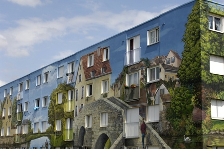 bel air: France, a painted building in Bel Air district of Chartres