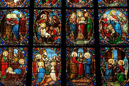 France, stained glass window in the cathedral of Pontoise Stock Photo - 13204140