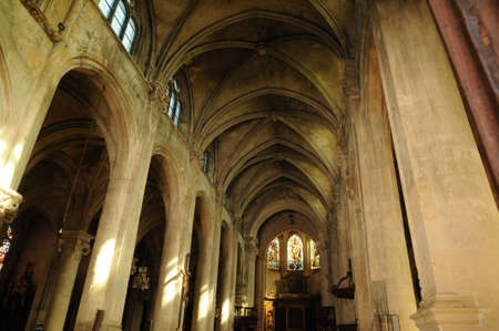 pontoise: France, the interior of the cathedral of Pontoise
