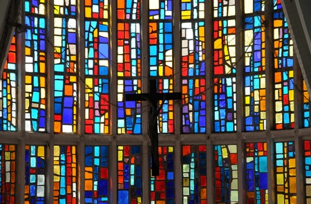church window: France, the modern church of Cap Ferret