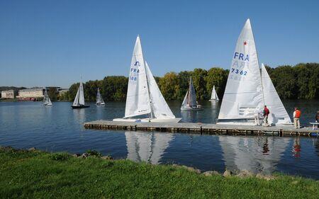France, Les Mureaux, sailing boat on Seine river Stock Photo - 13266143