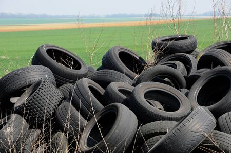 France, a pile of waste tires in Arthies photo