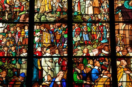pontoise:  France, stained glass window in the cathedral of Pontoise  Stock Photo
