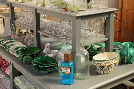 secondhand trade: antique shop in France Editorial