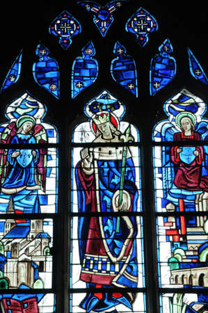 glasswork: stained glass window in Poissy collegiate church
