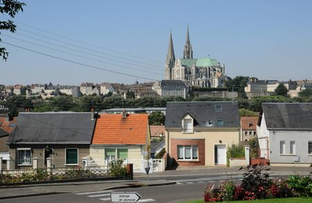 chartres: France, old houses and the cathedral of Chartres Stock Photo