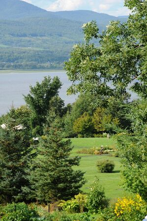 laurent: Quebec, Orleans Island, a garden in Sainte Famille Stock Photo