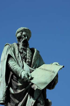 gutenberg: France, the statue of Gutenberg in Strasbourg Stock Photo
