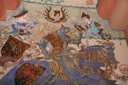 haut: fresco in Haut Koenigsbourg castle in Alsace