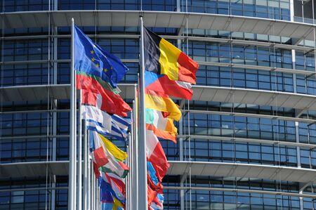 フランス、アルザスのストラスブールの欧州議会 写真素材