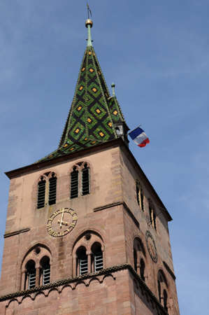 haut rhin: Alsace, the church of  Turckheim in Haut Rhin