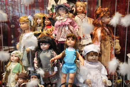 France, Alsace, dolls in a shop window in Strasbourg Stock Photo - 16961536