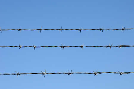 fencing wire: blue sky and barbed wire, horizontal picture