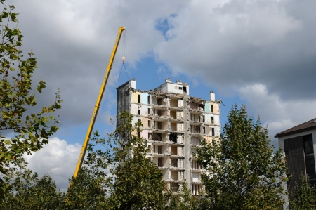 squalid: France, demolition of an old tower in Les mureaux