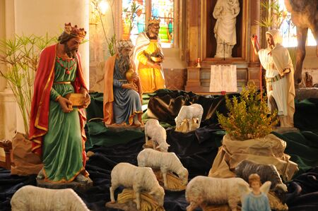 France, nativity scene in Triel sur Seine church photo