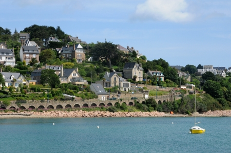 cotes d armor: France, the city of Perros Guirec in Brittany Stock Photo