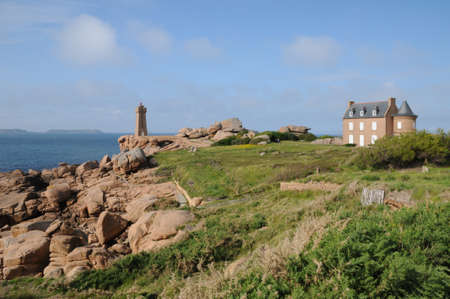 France, the lighthouse of Ploumanach in Brittany Stock Photo - 17549004