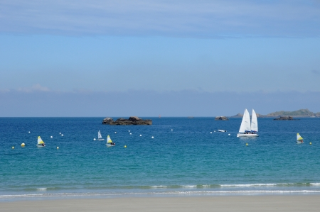 cotes d armor: France, the beach of Trestraou in Perros Guirec Stock Photo