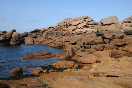 ploumanach: France, pink granit rocks in Ploumanach Stock Photo