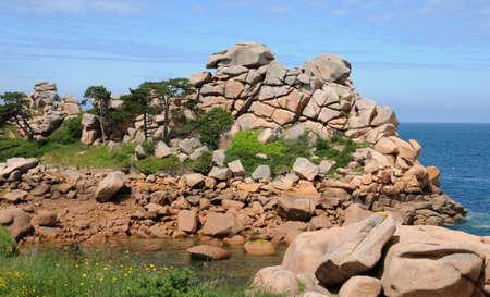 France, pink granit rocks in Ploumanach Stock Photo - 17637272