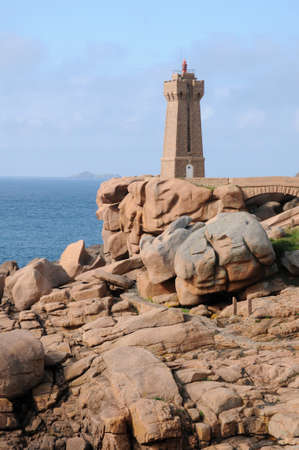 ploumanach: France, the lighthouse of Ploumanach in Brittany Stock Photo