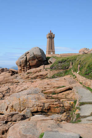 ploumanach: France, the lighthouse of Ploumanach in Brittany Stock Photo