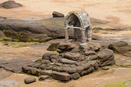 ploumanach: France, granit oratory of Saint Guirec in Ploumanach Stock Photo