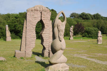 ploumanach: France, Le Parc des Sculpture in Ploumanach in Brittany Stock Photo