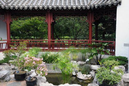 Canada, Quebec, pagoda in chinese garden of the Botanical Garden of Montreal