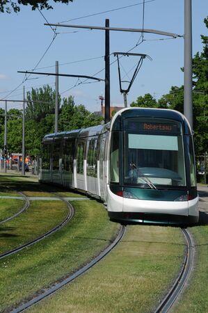 railborne vehicle: France, tramway in European Parliamant distric of Strasbourg