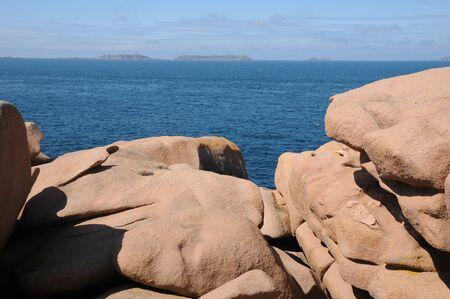 ploumanach: France, pink granit rocks in Ploumanach Stock Photo