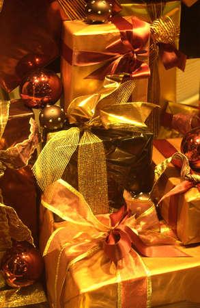 happier: presents in a shop window         Stock Photo