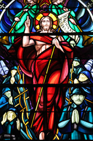 glasswork: France, stained glass window of Beuvron en Auge church in Normandy  Editorial