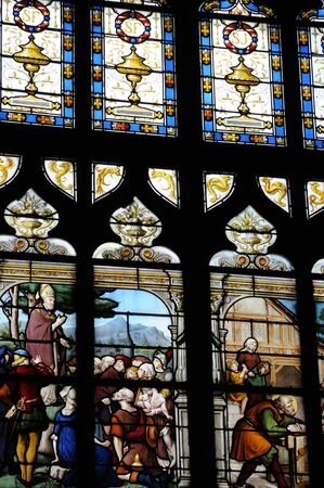glasswork: France, stained glass window of the church of Honfleur in Normandy Editorial