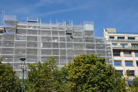 restauration: Paris, work on an old building in les ChampsElysees  Stock Photo