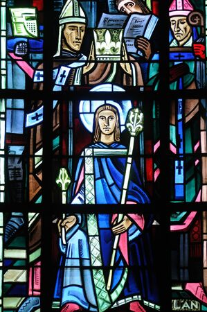 collegiate: France, stained glass window in Poissy collegiate church Editorial