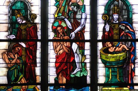 collegiate: France, stained glass window in Poissy collegiate church Stock Photo