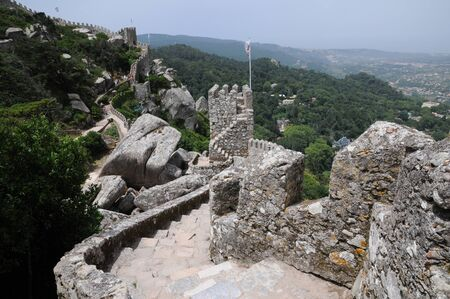 historica: Portugal, the moorish castle in Sintra Stock Photo