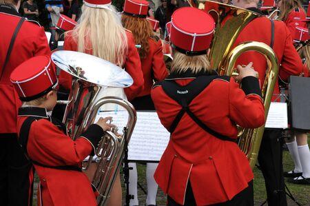 fanfare: Sweden,  a fanfare with red uniform in Stockholm