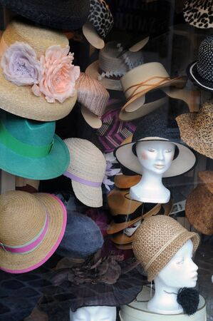 France, hats in a display window in Paris photo