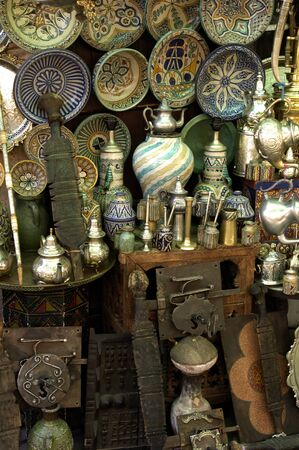 antiquary: Morocco, old objects in an antique shop in Marrakesh