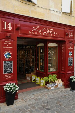 aquitaine: France, wine shop in the city of Saint Emilion in Aquitaine