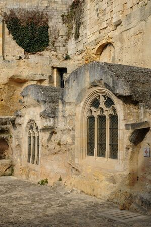 monolithic: France, the monolithic church in the city of Saint Emilion in Aquitaine