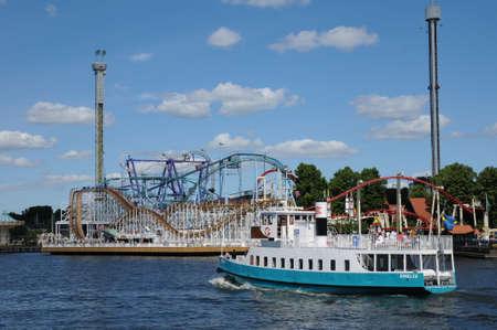 Sweden, a luna park at the seaside in Stockholm