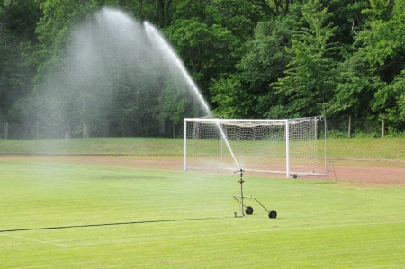 watering in a football pitch