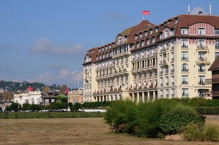 France, picturesque Royal Barriere hotel in Deauville in Normandie